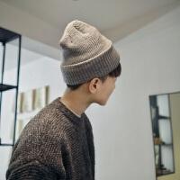 青年秋冬季毛线帽潮流情侣帽包头帽男女针织帽子纯色学生百搭韩版