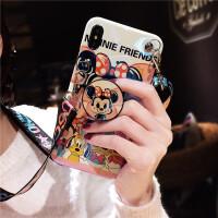 iPhone XS Max手机壳X女款ins超火苹果7plus斜挎挂绳8p软硅胶全包边防 苹果6/6s 蓝光米妮