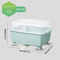碗筷收纳盒厨房放碗柜塑料带盖沥水碗架收纳箱放餐具碗盘架子