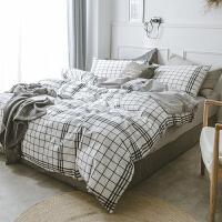 北欧水洗棉全棉纯棉四件套简约床单被套三件套学生宿舍床上用品 2.0m(6.6英尺)床 床笠款