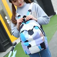 小清新双肩包女韩版奶牛喷绘涂鸦帆布背包中学生书包休闲旅行背包 图色