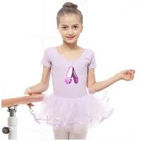 儿童舞蹈服装练功服幼儿春夏季纱裙蓬蓬裙亮片绣花女童短袖芭蕾裙
