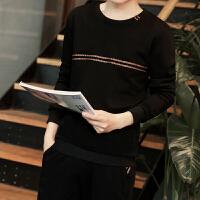 秋冬套头卫衣男圆领长袖韩版修身学生潮流T恤青年运动卫衣潮外套