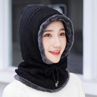 帽子女冬季围脖一体针织帽冬天保暖学生帽潮