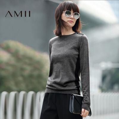 【品牌团 1件7折/2件5折】AMII[极简主义]冬新女大码休闲撞色显瘦修身针织毛衣11672020
