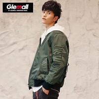 【2件2.2折价153.78元】森马旗下潮牌GLEMALL 短款男立体3D刺绣个性织带加厚棒球服外套