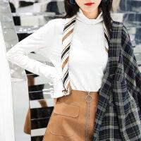 秋天上衣韩版半高领打底衫修身秋装女新款中长款长袖t恤冬季