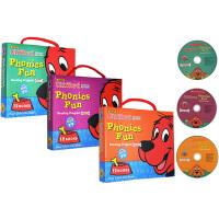 (198减40)【大红狗1-3附CD】Clifford Phonics Fun Pack 1 2 3  3盒36册 大红狗克里弗系列 Phonics Fun 自然拼读 英文原版绘本