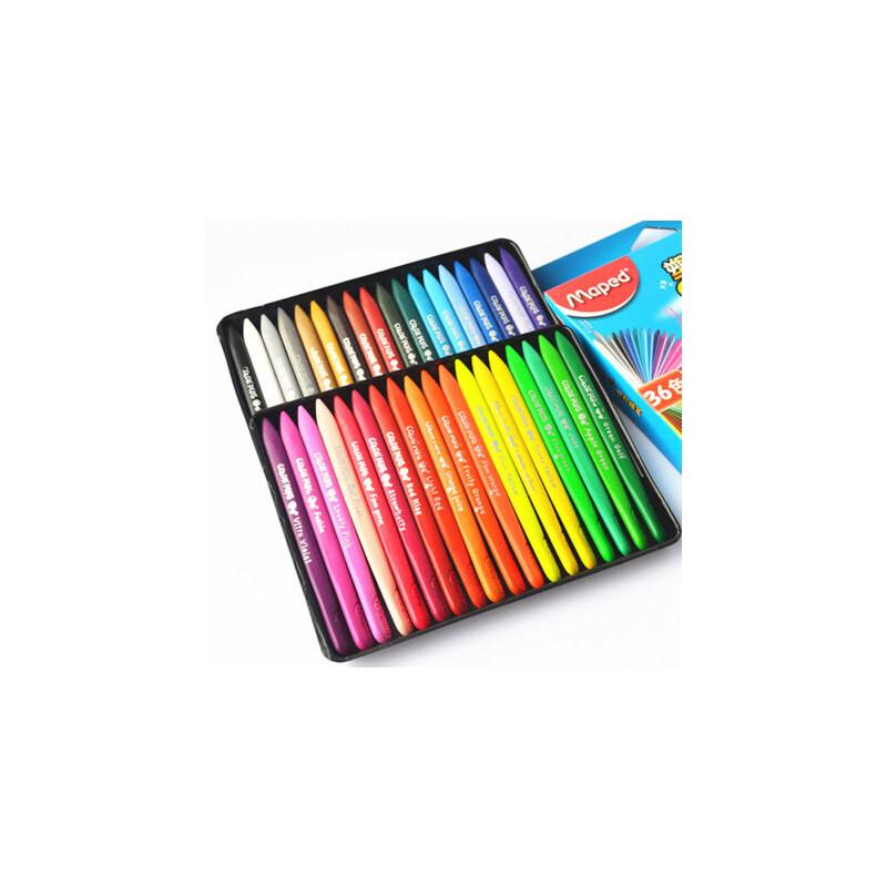 法国maped马培德24色36色48色彩色蜡笔儿童画画笔塑料蜡笔宝宝安全无毒幼儿园小孩美术彩笔环保盒装套装 三角形 细头画写细节 粗头大面积涂