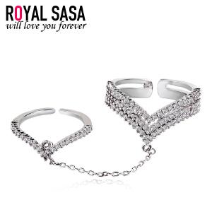 皇家莎莎戒指女开口欧美个性创意指环仿水晶微镶罗马假日戒子饰品
