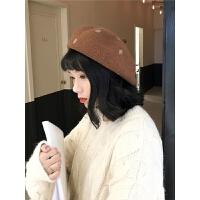 贝雷帽秋冬百搭画家帽女小清新学生秋季蓓蕾帽子