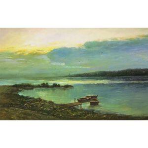 朝鲜油画 一级画家 申宇《停泊》【大千艺术品】