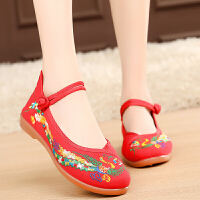 春老北京布鞋女鞋平底绣花鞋民族风妈妈跳舞红色婚鞋古装汉服鞋子