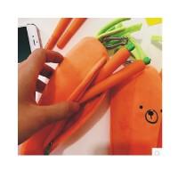 日照鑫 可爱卡通创意立体胡萝卜表情笔袋日系学生个性文具袋 学生礼物 笔盒 文具袋(一个装)