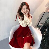微胖套装女秋装遮肚子藏肉连衣裙大码两件套裙子洋气减龄冬季网红 红色