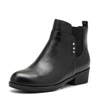 【3折到手价242.7元】索菲娅Safiya冬季牛皮圆头中跟休闲时尚纯色短靴女鞋SF64116320