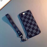 简约皮纹iphone6splus手机壳苹果8情侣7plus挂绳X日韩潮8plus软壳 苹果7/8 (黑色)