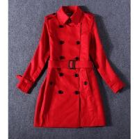 2018新潮时尚女装风衣外套英伦经典高端大红色双排扣�色风衣 红色