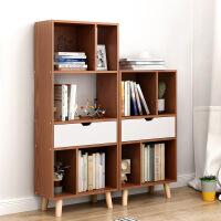祥然 北欧带斗实木腿书柜小书架 简约客厅收纳架办公室置物架书房书柜