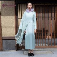生活在左2019春夏新款文艺长袖连衣裙女(配腰绳)