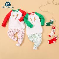 【满199减30】迷你巴拉巴拉男童女童宝宝内衣两件套冬新款儿童保暖内着圣诞套装