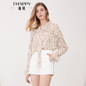 海贝夏季新款女装上衣V领蝴蝶结飘带木耳边碎花长袖雪纺衬衫