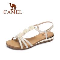 Camel/骆驼女凉鞋 夏季新款时尚细带凉鞋女 甜美坡跟凉鞋