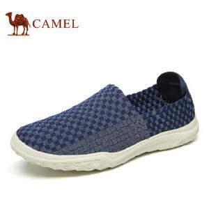 camel骆驼男鞋  春季新品 轻质舒适套脚时尚编织鞋 情侣款乐福鞋