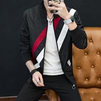 男士夹克外套条纹拼色青少年上衣秋季新款休闲外衣潮流运动夹克衫