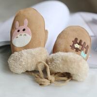 韩版冬天保暖儿童小童可爱连指棉手套男女宝宝加绒加厚婴儿挂脖萌