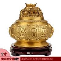 五路财神聚宝盆摆件纯铜风水客厅八仙聚宝盆家居工艺品