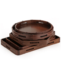 鸡翅木餐具 长方木托盘木制茶盘果盘 红木工艺品实木木雕摆件