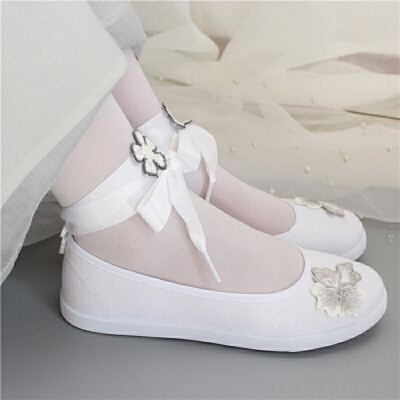 古风改良汉服鞋子女搭配古装学生白色帆布鞋刺绣花增高绑带舞蹈鞋