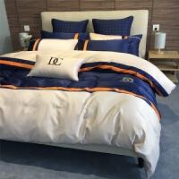 全棉床单四件套男士商务六件套欧式简约纯棉被套1.8m酒店床上用品 2.0m宽床/被套220*240cm/ 床单款六
