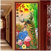 新款客厅玄关砖石秀竖版孔雀牡丹富贵图十字绣花开富贵钻石画满钻