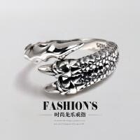 男士泰银尾戒指环龙爪开口戒指小指戒 复古男生女生潮人925银戒指饰品 复古 尺寸可调范围9-17号