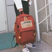 学院风大学生书包男高中学生女帆布韩版双肩包女背包大容量旅行包