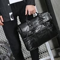 商务公文包男包 大容量商务手提包皮质时尚男士斜挎包潮流公文包电脑包 黑色