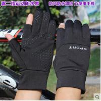 男士棉手套加绒加厚开车冬天女士半截指麂皮绒冬天保暖露二指手套