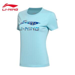 李宁短袖T恤女士新款运动生活系列圆领潮流针织短装夏季运动服AHSM144