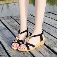 坡跟凉鞋女夏季平底学生韩版2019新款波西米亚水钻中跟露趾女鞋子