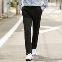 太平鸟男装休闲裤男2019春新款黑色弹力长裤松紧腰际刺绣直筒裤子