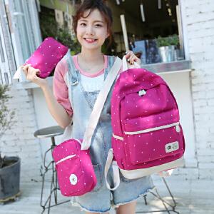 帆布印花波点中学生书包新款三件套子包背包