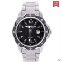 精致大表盘耐磨耐用运动户外石英表防水商务男表时尚潮流钢带黑色单日历手表