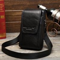 男士斜挎包迷你真皮手机包腰包穿皮带5.5/6/7寸牛皮小挂包多功能 款4黑色<6.8-7寸>
