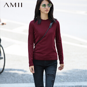 【品牌团 1件7折/2件5折】AMII[极简主义]冬新品修身纯色罗纹圆领纹理休闲毛衣11681803