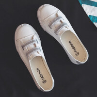 夏季新款浅口小白鞋韩版皮面一脚蹬懒人鞋百搭透气帆布女鞋子