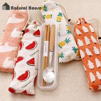 创意个性ZAKKA风便携餐具盒筷子勺子套装可爱学生北欧风天然木质