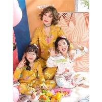 女童睡衣春秋季套装长袖小女孩亲子装母女纯棉儿童棉绸秋冬家居服