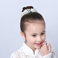 儿童皇冠头饰公主发带发饰韩女孩女童发箍白色花童演出丸子头盘发
